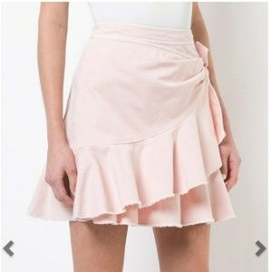 Cinq a Sept Anson blush pink ruffled mini skirt A5